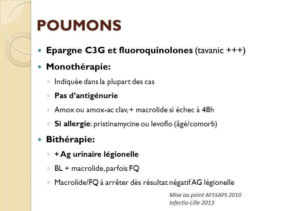 POUMONS Epargne C3G et fluoroquinolones (tavanic +++) Monothérapie: