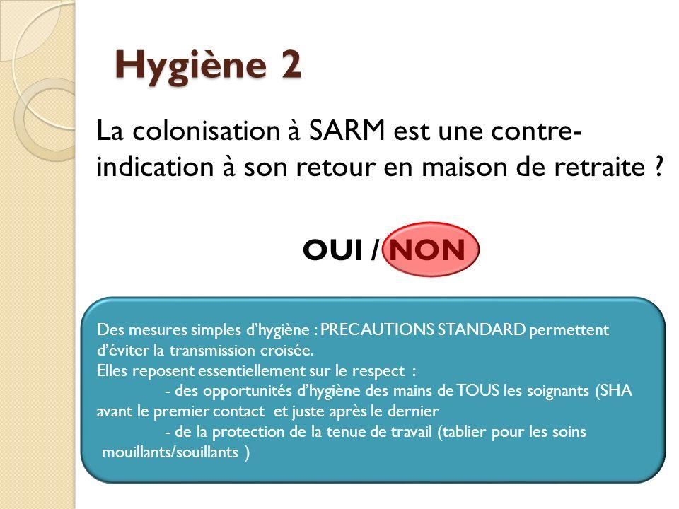 Hygiène 2 La colonisation à SARM est une contre- indication à son retour en maison de retraite OUI / NON