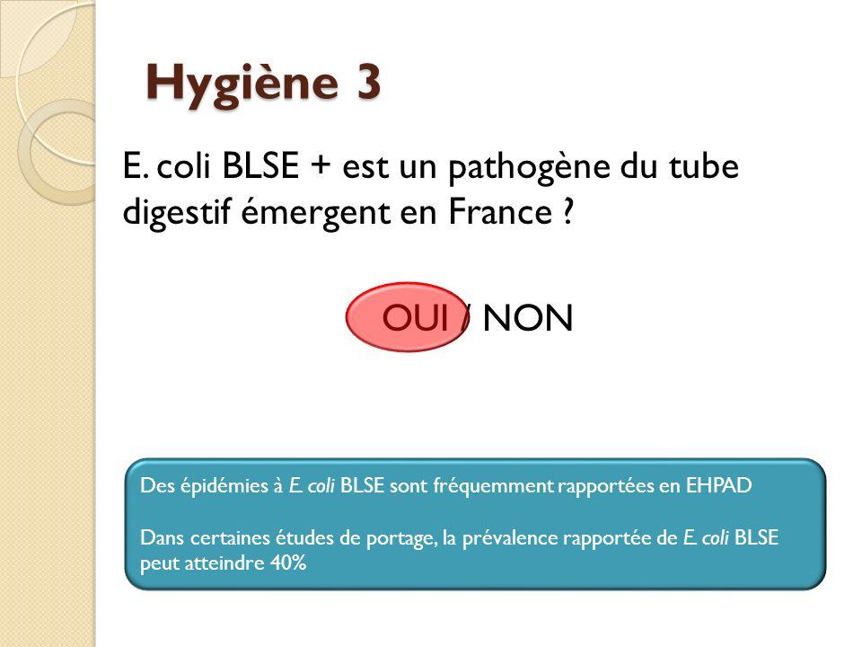 Hygiène 3 E. coli BLSE + est un pathogène du tube digestif émergent en France OUI / NON