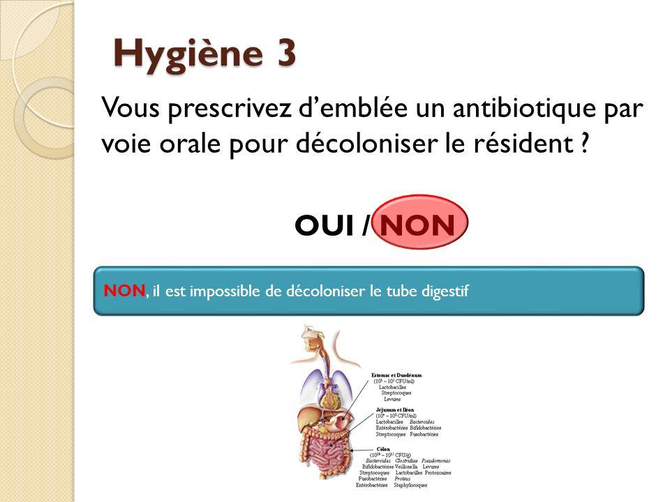 Hygiène 3 Vous prescrivez d'emblée un antibiotique par voie orale pour décoloniser le résident OUI / NON
