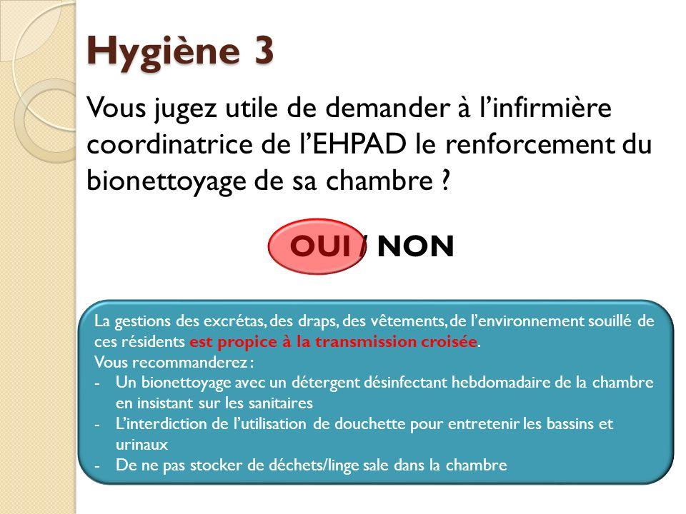 Hygiène 3 Vous jugez utile de demander à l'infirmière coordinatrice de l'EHPAD le renforcement du bionettoyage de sa chambre OUI / NON