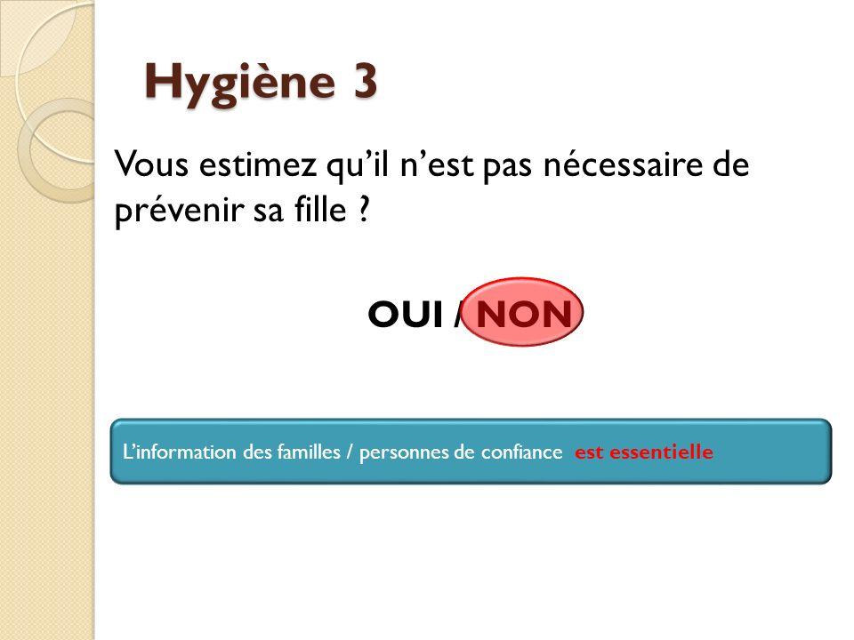 Hygiène 3 Vous estimez qu'il n'est pas nécessaire de prévenir sa fille OUI / NON