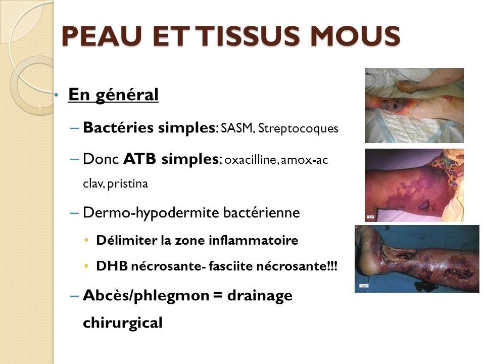 PEAU ET TISSUS MOUS En général Bactéries simples: SASM, Streptocoques