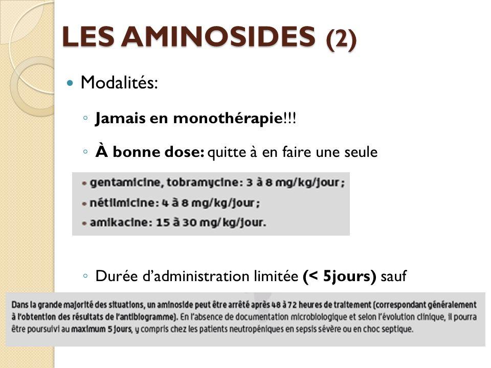 LES AMINOSIDES (2) Modalités: Jamais en monothérapie!!!