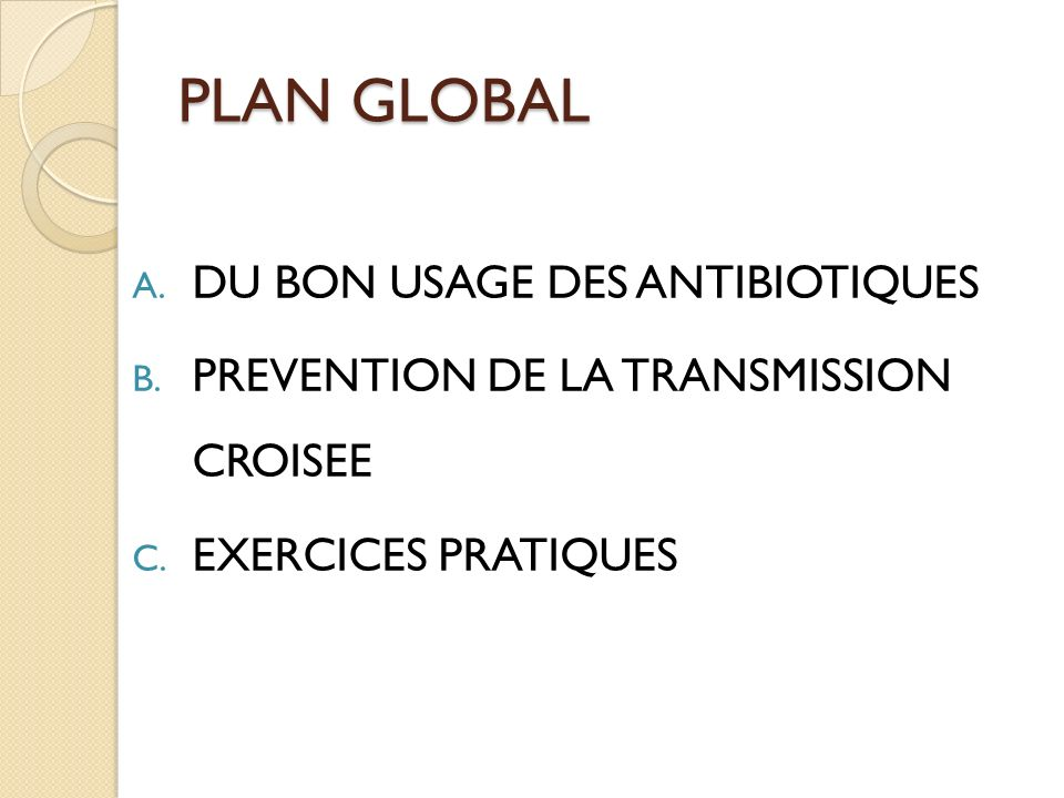 PLAN GLOBAL DU BON USAGE DES ANTIBIOTIQUES