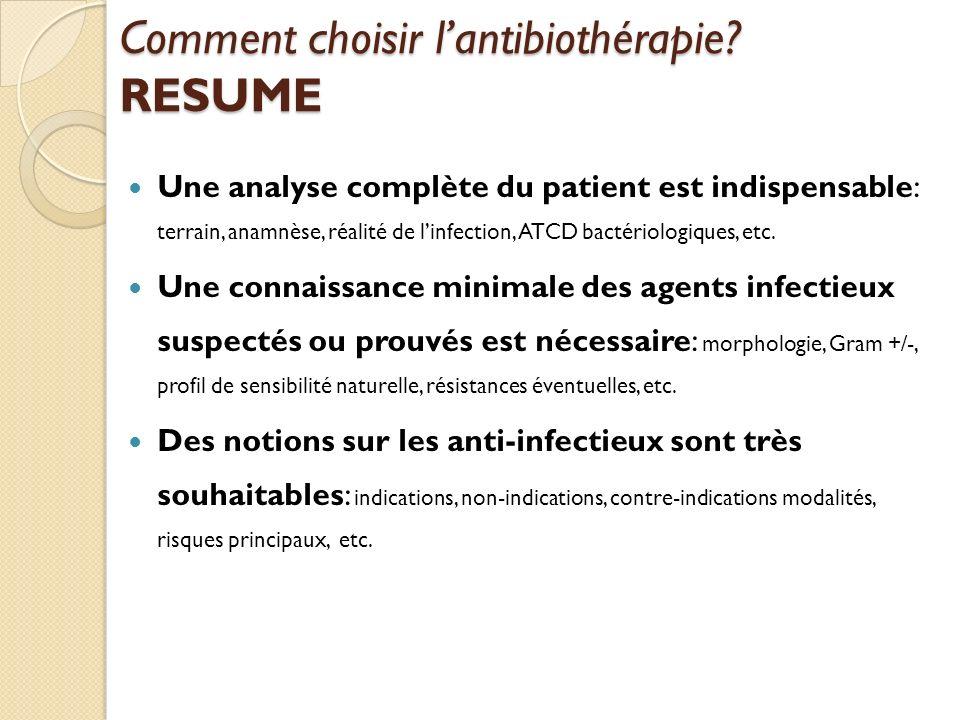 Comment choisir l'antibiothérapie RESUME