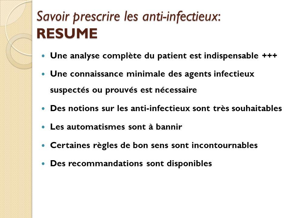 Savoir prescrire les anti-infectieux: RESUME