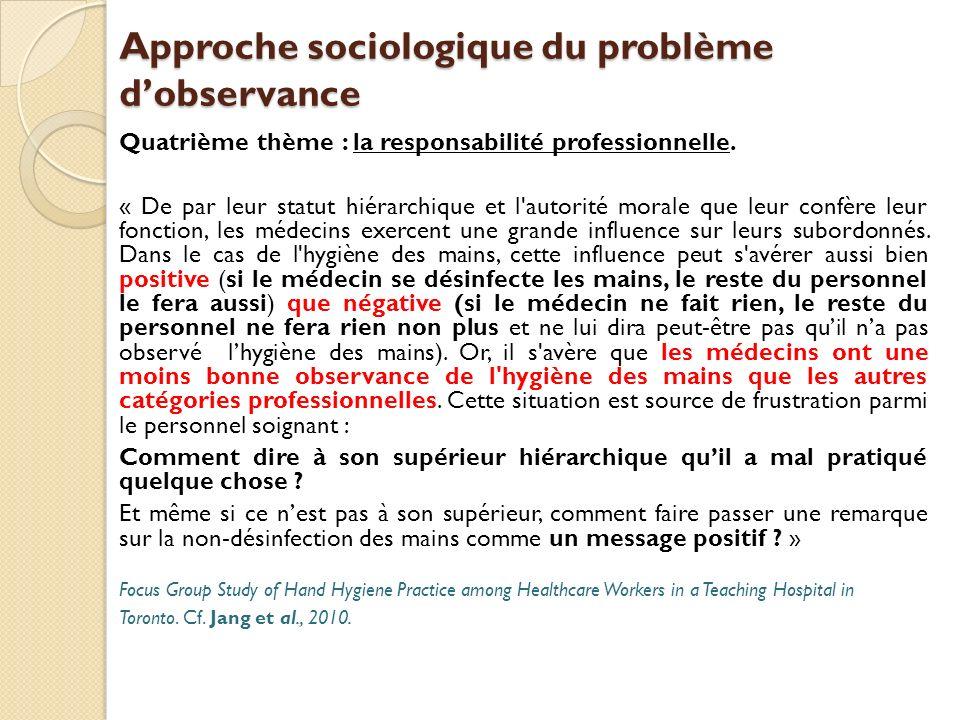 Approche sociologique du problème d'observance