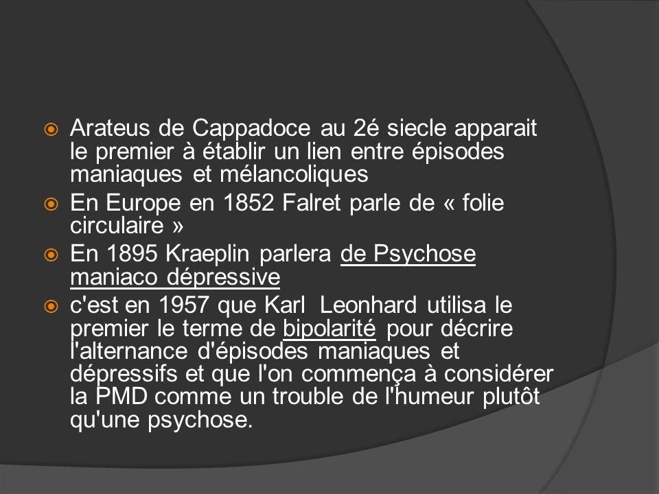 Arateus de Cappadoce au 2é siecle apparait le premier à établir un lien entre épisodes maniaques et mélancoliques