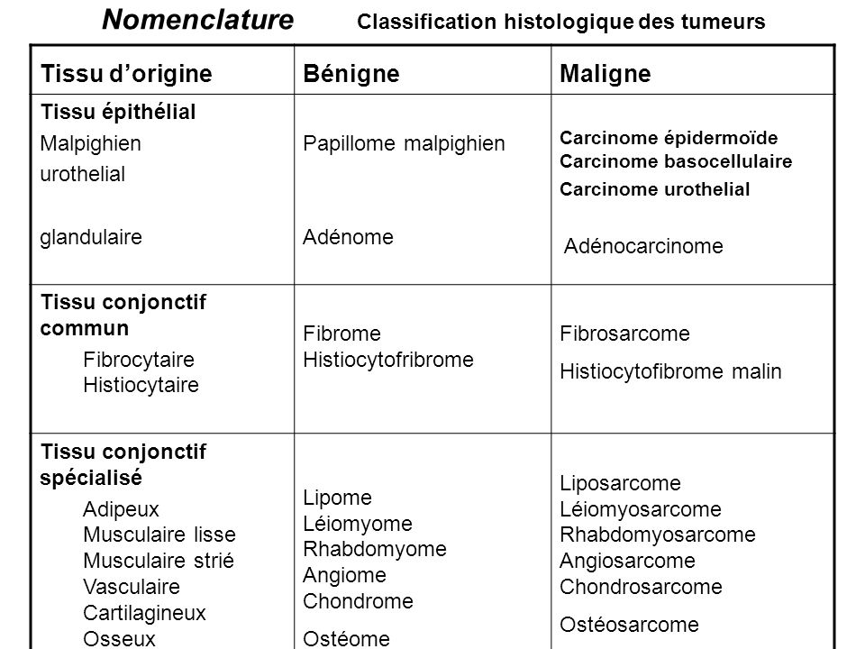 Nomenclature Classification histologique des tumeurs