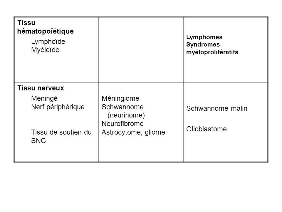 Tissu hématopoïétique Lymphoïde Myéloïde