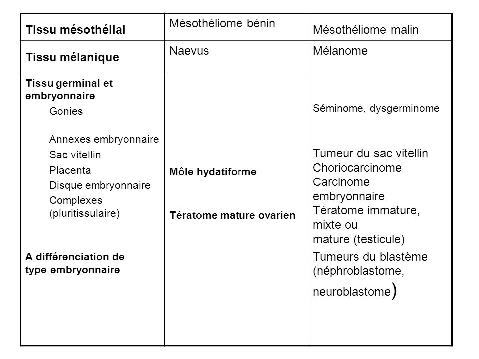 Tumeurs du blastème (néphroblastome, neuroblastome)