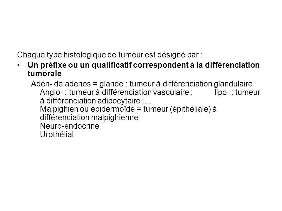 Chaque type histologique de tumeur est désigné par :