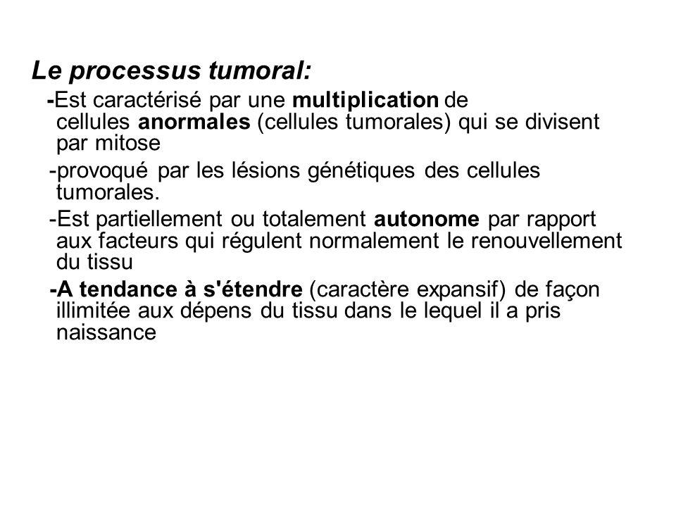 Le processus tumoral: -Est caractérisé par une multiplication de cellules anormales (cellules tumorales) qui se divisent par mitose.