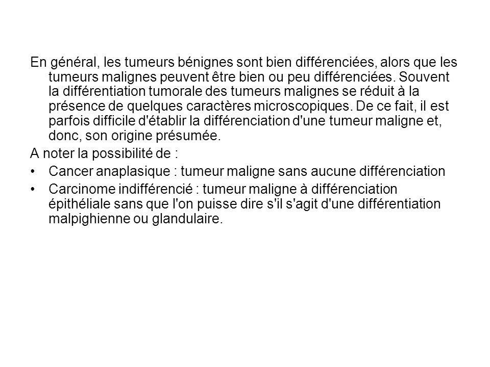En général, les tumeurs bénignes sont bien différenciées, alors que les tumeurs malignes peuvent être bien ou peu différenciées. Souvent la différentiation tumorale des tumeurs malignes se réduit à la présence de quelques caractères microscopiques. De ce fait, il est parfois difficile d établir la différenciation d une tumeur maligne et, donc, son origine présumée.