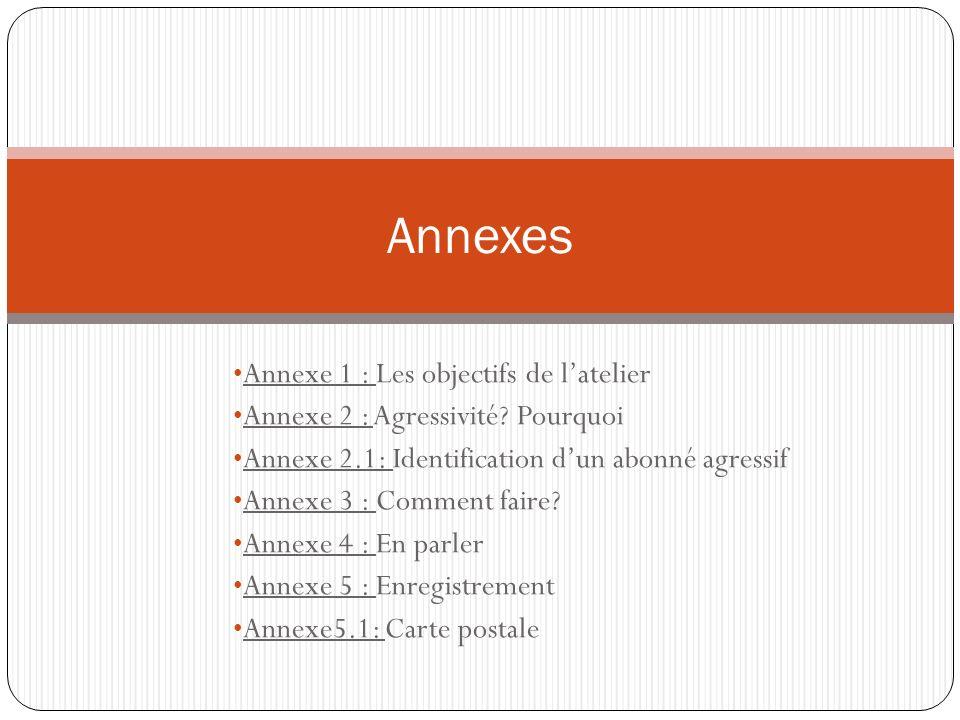 Annexes Annexe 1 : Les objectifs de l'atelier
