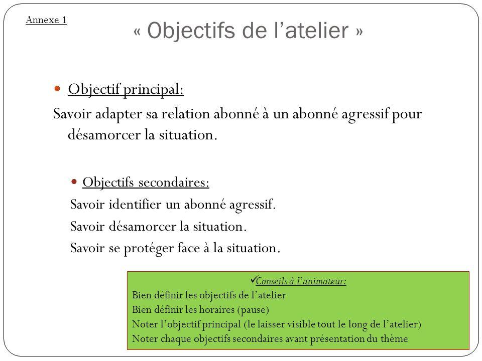 « Objectifs de l'atelier »