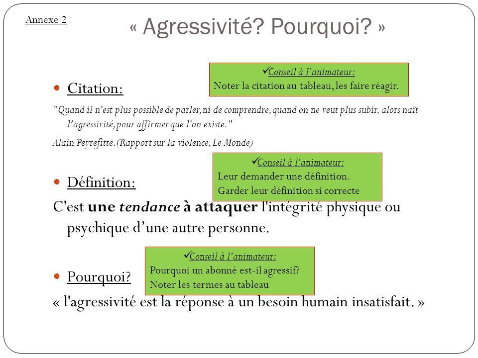 « Agressivité Pourquoi »