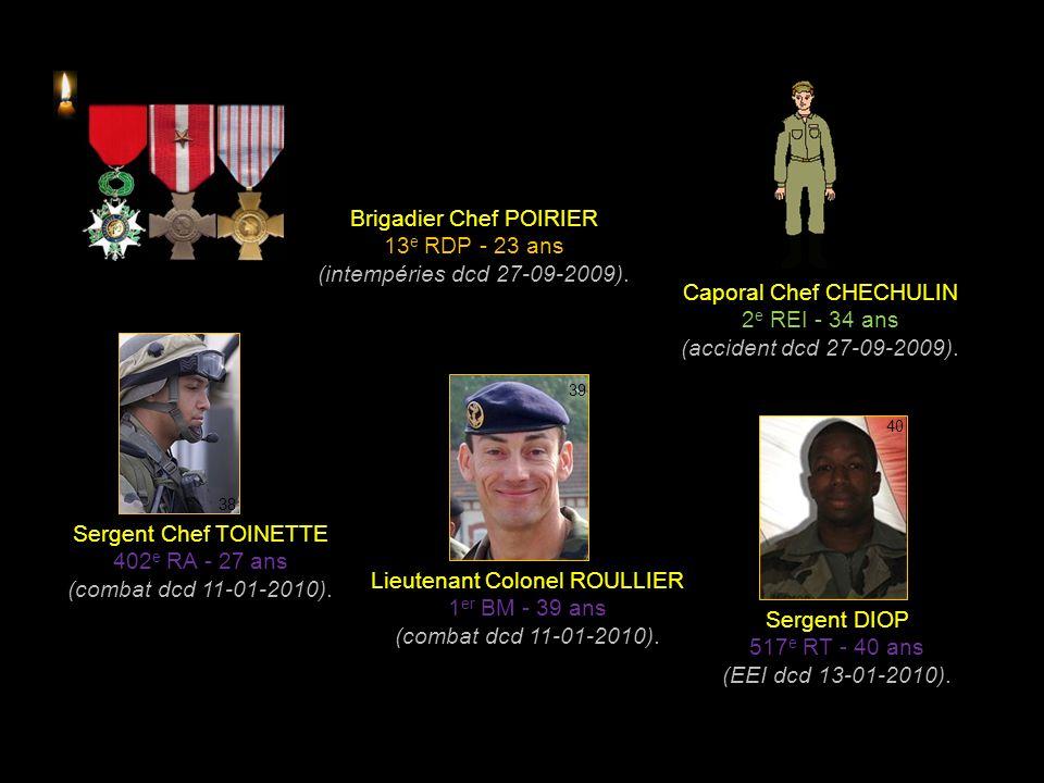 Brigadier Chef POIRIER 13e RDP - 23 ans (intempéries dcd 27-09-2009).