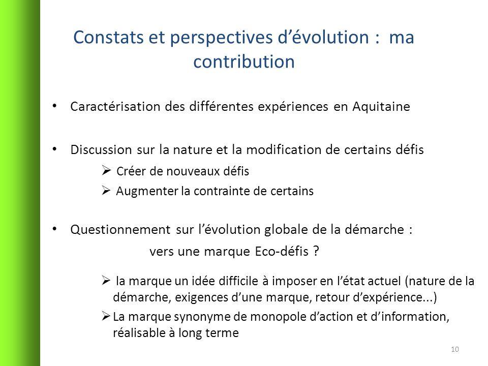 Constats et perspectives d'évolution : ma contribution