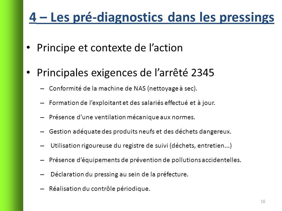 4 – Les pré-diagnostics dans les pressings