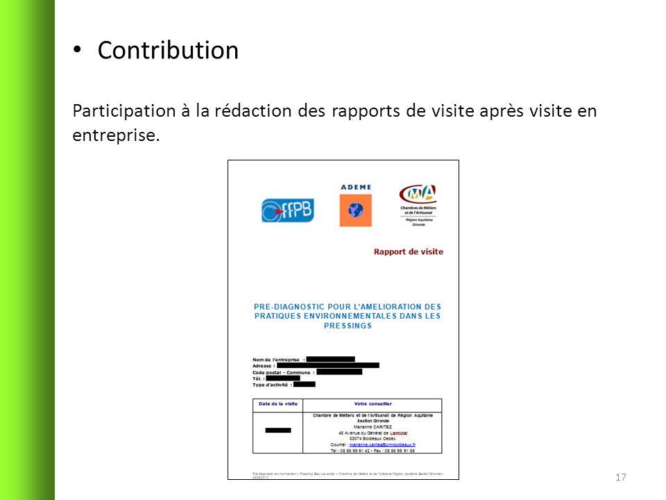 Contribution Participation à la rédaction des rapports de visite après visite en entreprise.