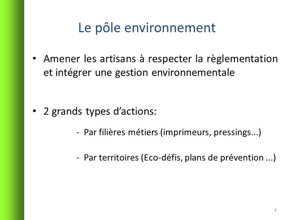 Le pôle environnement Amener les artisans à respecter la règlementation et intégrer une gestion environnementale.