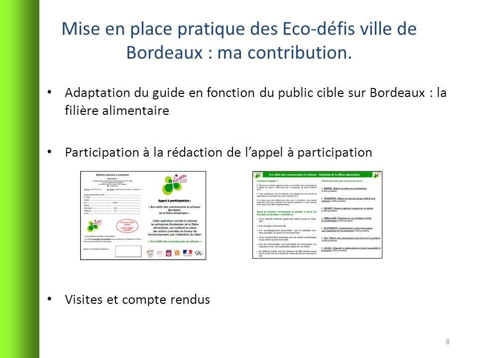 Mise en place pratique des Eco-défis ville de Bordeaux : ma contribution.