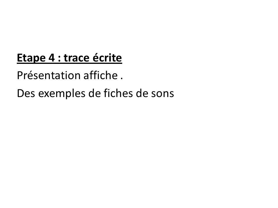 Etape 4 : trace écrite Présentation affiche