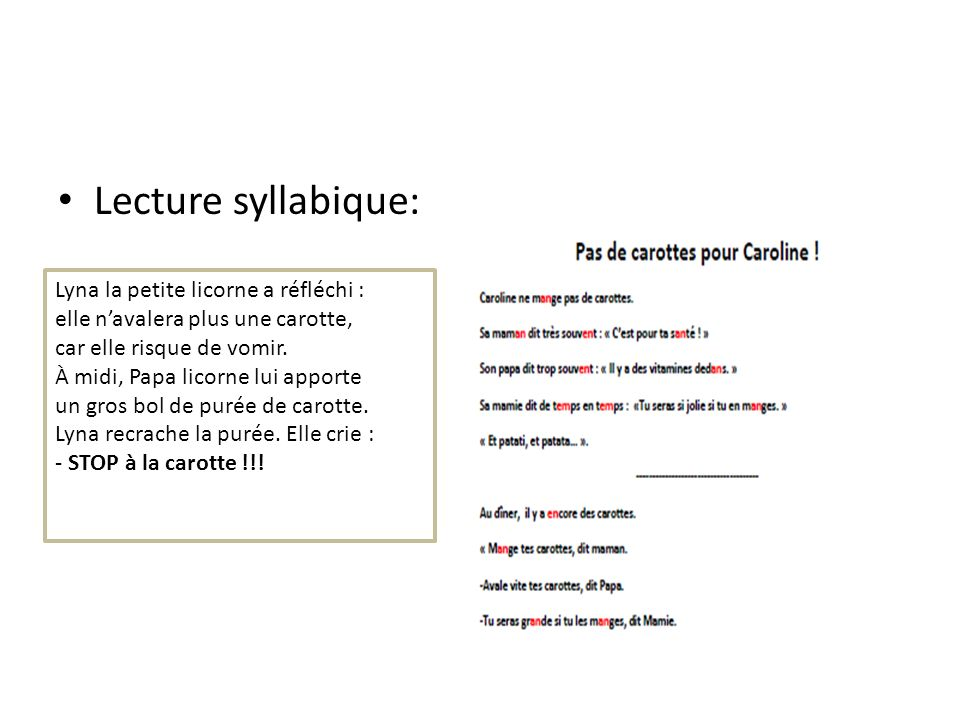 Lecture syllabique: Lyna la petite licorne a réfléchi :