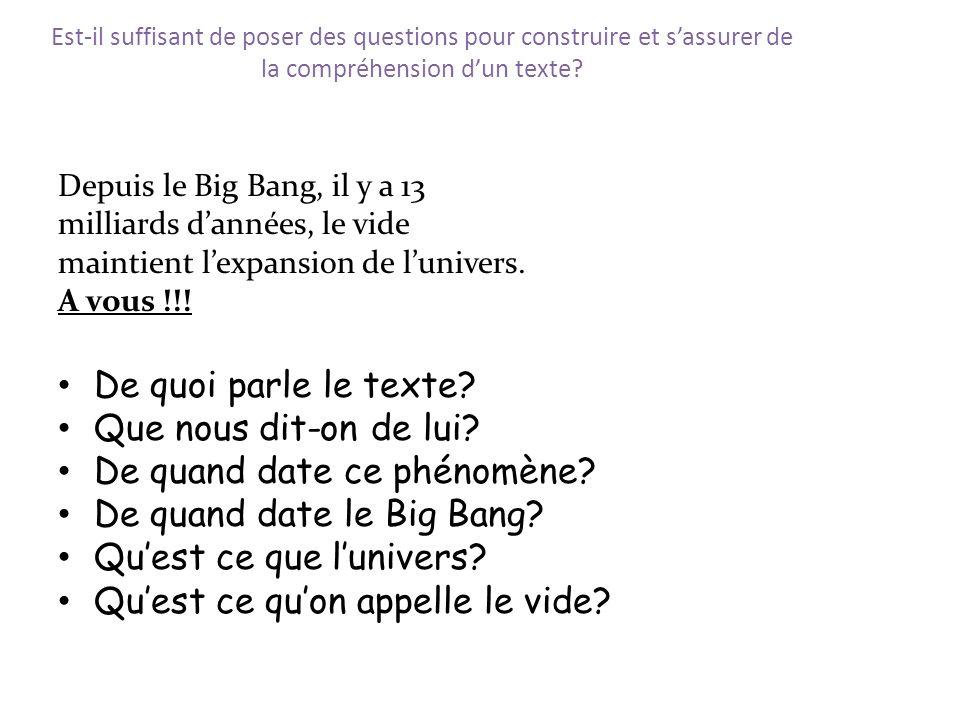 De quand date ce phénomène De quand date le Big Bang