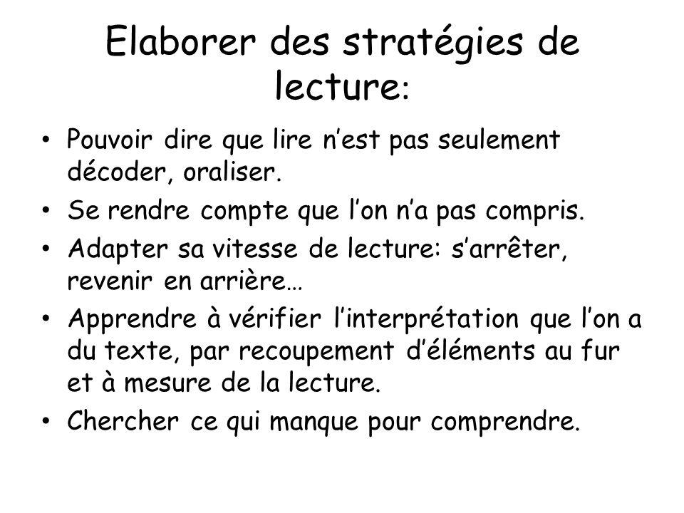 Elaborer des stratégies de lecture: