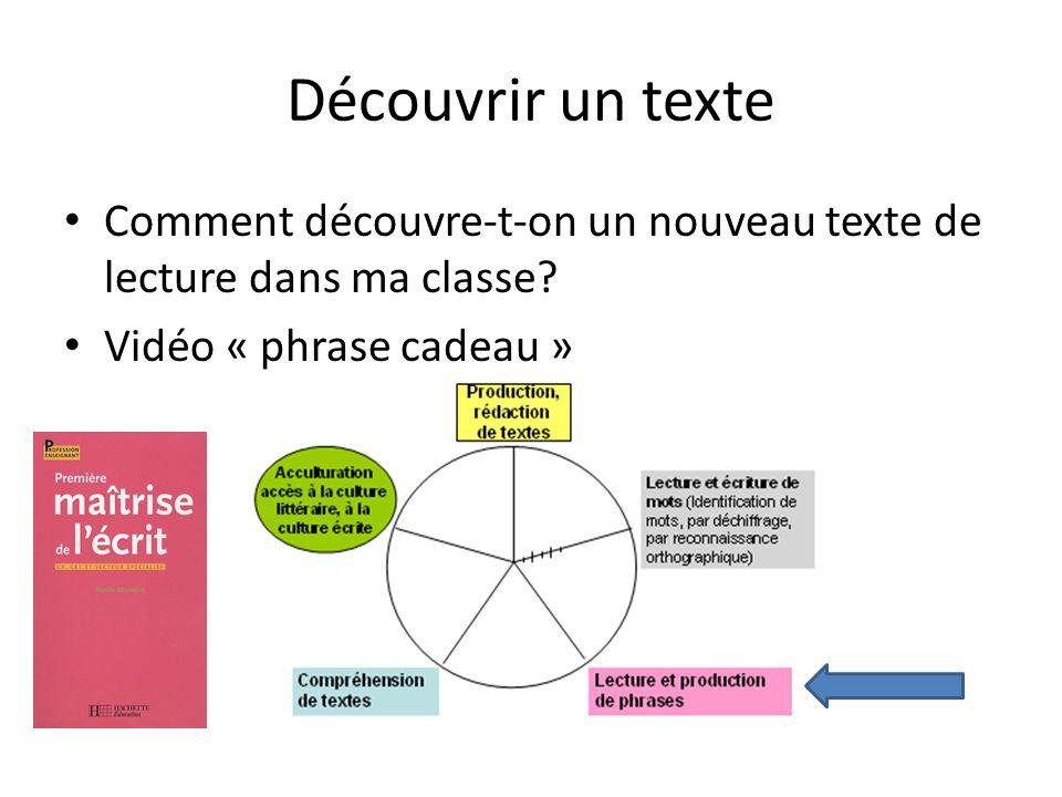 Découvrir un texte Comment découvre-t-on un nouveau texte de lecture dans ma classe.
