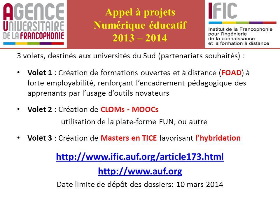 Appel à projets Numérique éducatif 2013 – 2014