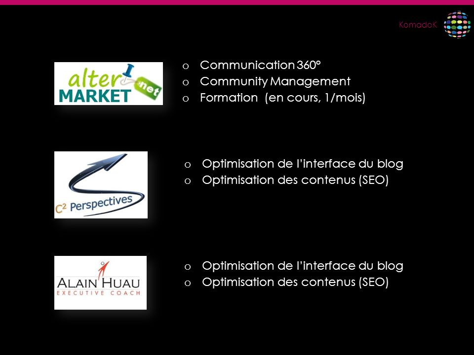 Communication 360° Community Management. Formation (en cours, 1/mois) Optimisation de l'interface du blog.