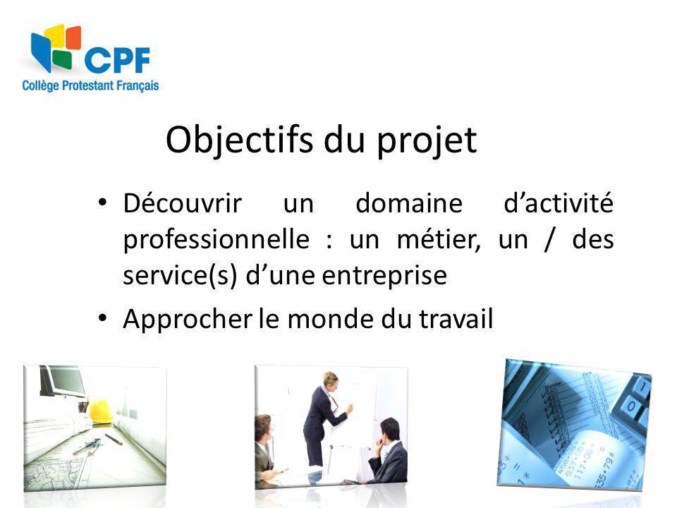 Objectifs du projet Découvrir un domaine d'activité professionnelle : un métier, un / des service(s) d'une entreprise.
