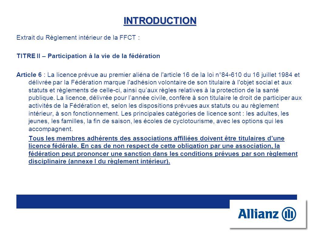 INTRODUCTION Extrait du Règlement intérieur de la FFCT :