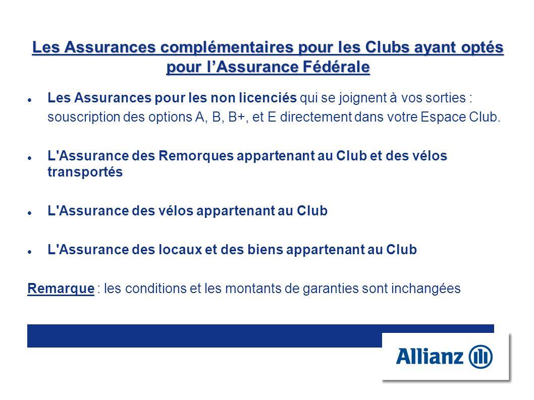 Les Assurances complémentaires pour les Clubs ayant optés pour l'Assurance Fédérale