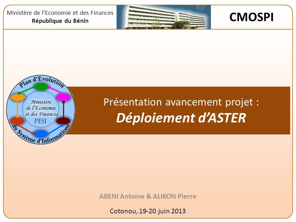Présentation avancement projet : Déploiement d'ASTER