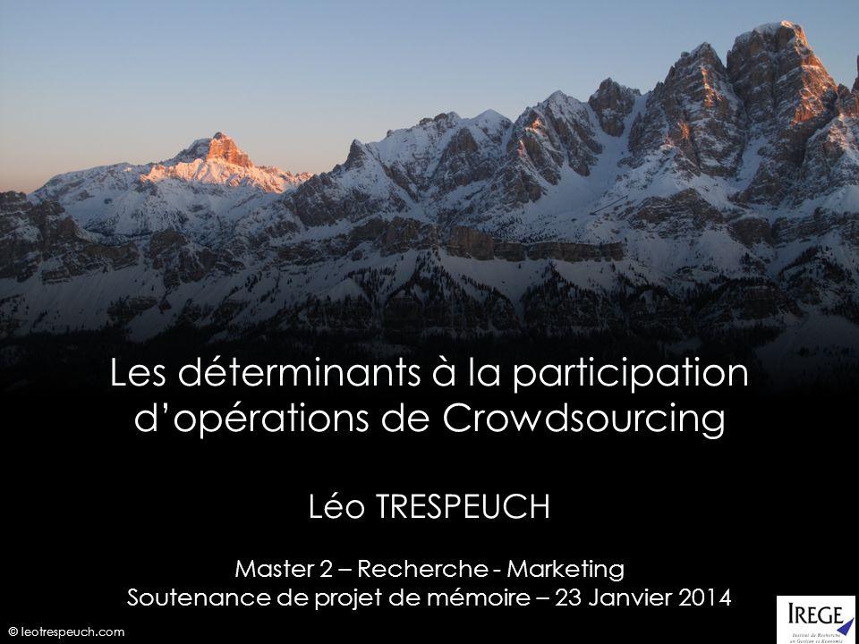 Les déterminants à la participation d'opérations de Crowdsourcing