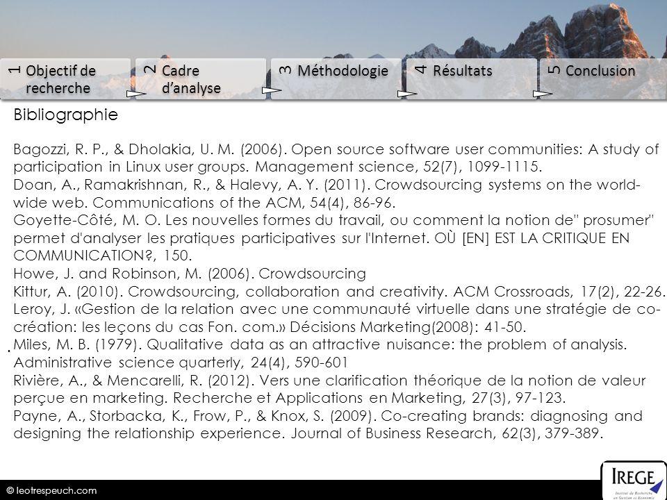 1 2 3 4 5 Objectif de recherche Cadre d'analyse Méthodologie Résultats