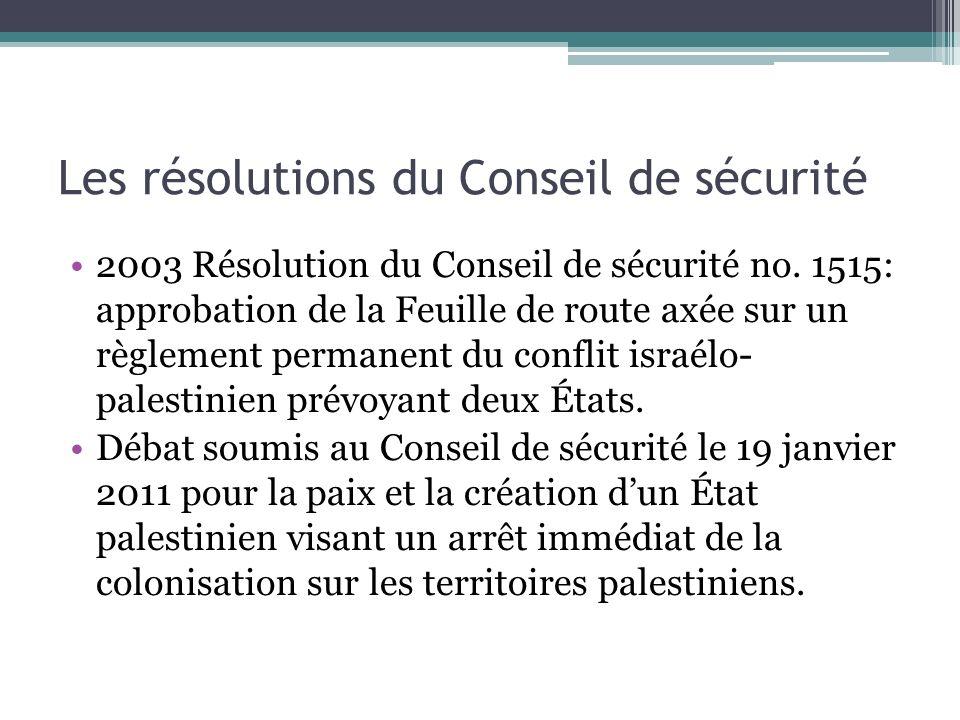 Les résolutions du Conseil de sécurité