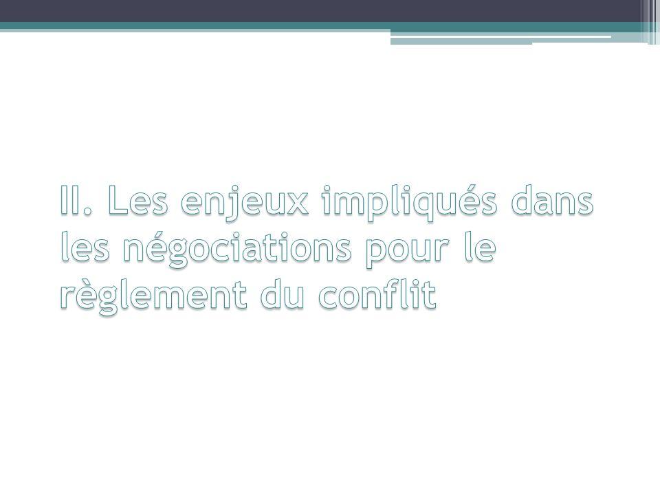 II. Les enjeux impliqués dans les négociations pour le règlement du conflit