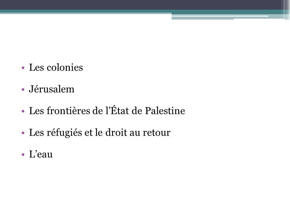 Les colonies Jérusalem. Les frontières de l'État de Palestine. Les réfugiés et le droit au retour.