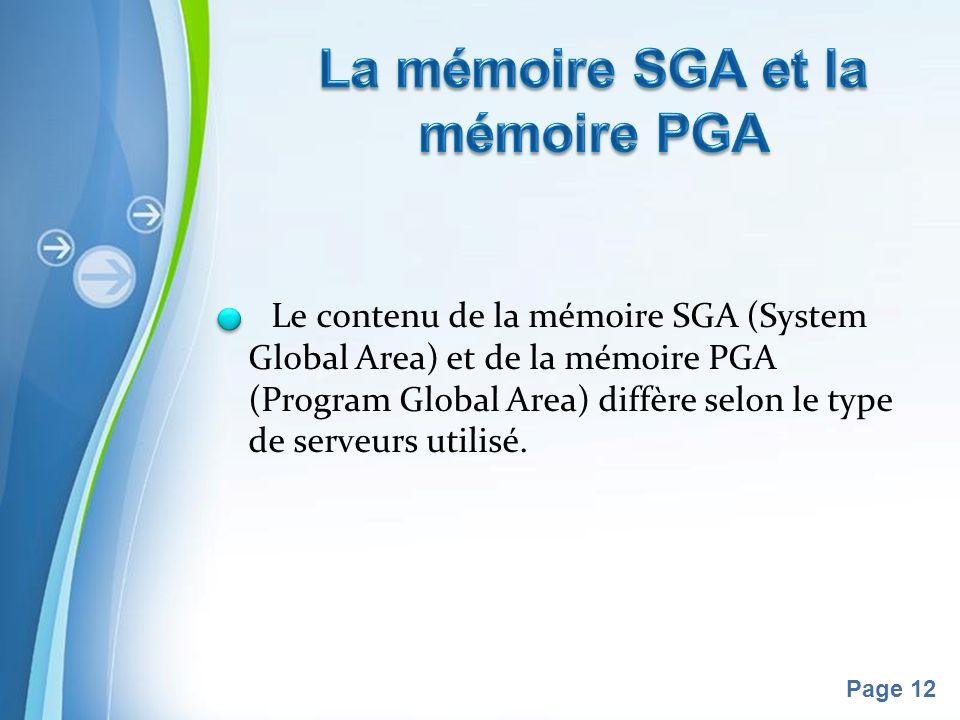 La mémoire SGA et la mémoire PGA