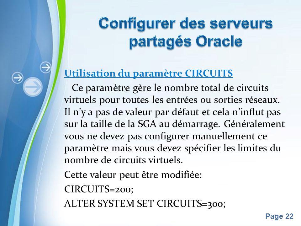 Configurer des serveurs partagés Oracle
