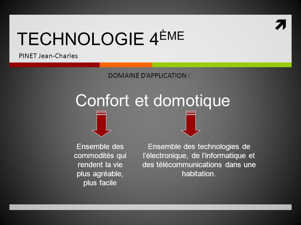TECHNOLOGIE 4ÈME Confort et domotique PINET Jean-Charles