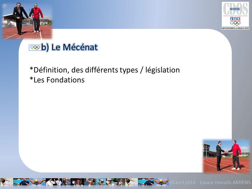 b) Le Mécénat *Définition, des différents types / législation