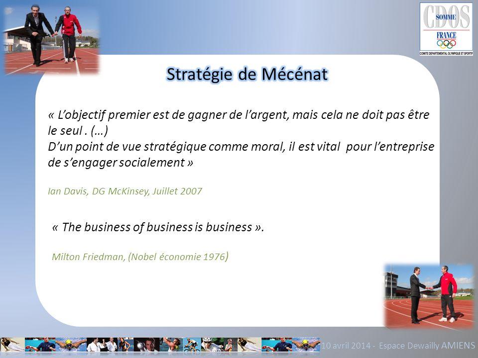 Stratégie de Mécénat « L'objectif premier est de gagner de l'argent, mais cela ne doit pas être le seul . (…)