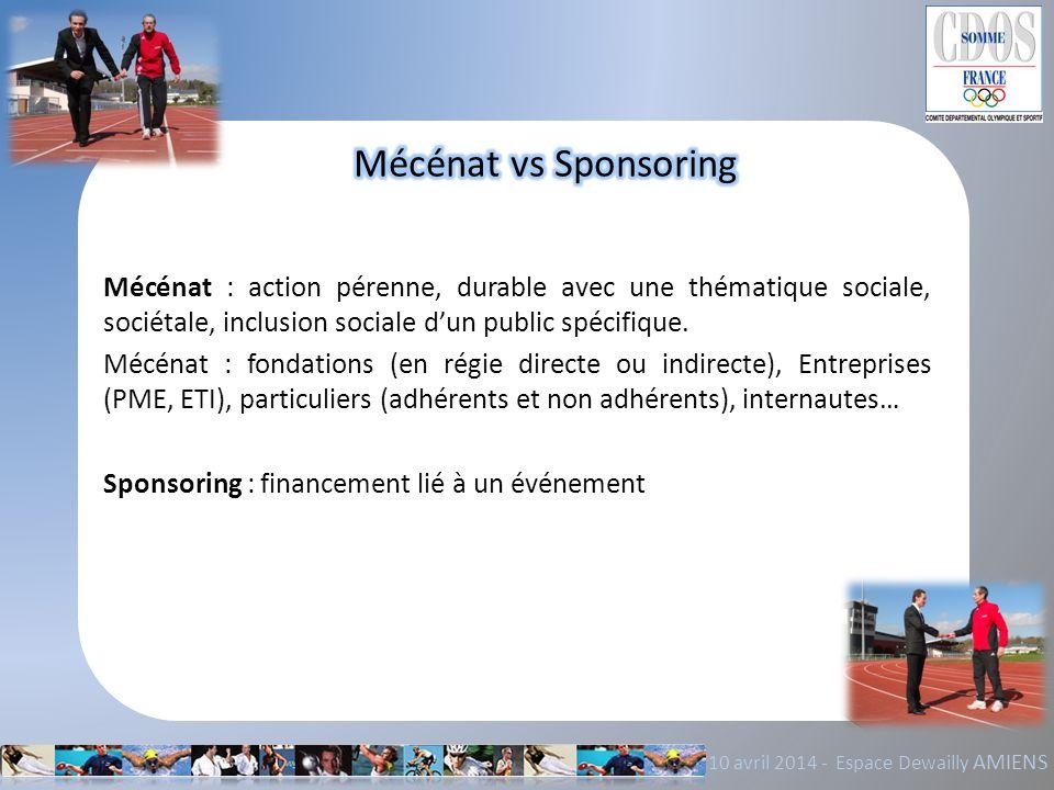 Mécénat vs Sponsoring Mécénat : action pérenne, durable avec une thématique sociale, sociétale, inclusion sociale d'un public spécifique.